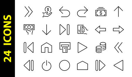Set of line arrows, directions, arrows, contains icons such as pause, continuation, directly, to the right, Editable stroke. 480x480, On a white background, Vector illustration.
