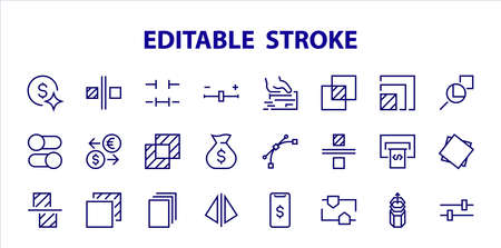 A simple set of image editing related vector line icons. Contains icons such as crop, copy, scale, rotate and more. Editable stroke. 48x48 Pixel Perfect. On white background. Vektoros illusztráció