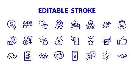 Simple Set Feedback, reviews thin line icons. Evaluation, review, STAR, LIKE and much more, Editable stroke. Vector illustration.