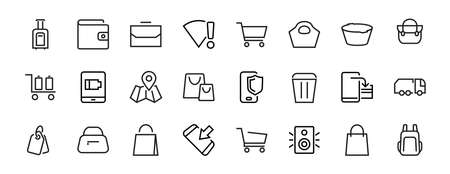 Simple set of bags, shopping and travel icons. Vector illustration Contains icons such as Card, wallet, shopping basket, discount, bowl, package. On a white background, editable stroke