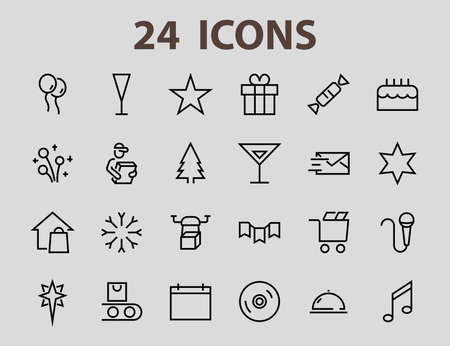 Simple set of celebration icons related to vector line. Contains icons such as music, new year, stars, balls, cake, karaoke, dj and much more. Editable stroke. 480x480.