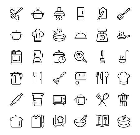 KITCHEN Cooking, Vector line illustration, contains icons, frying pan, frying, microwave, fork, recipe, mixer, boiling, fried eggs, cook hat, oven, scales, refrigerator, thin lines Editable stroke. Illustration