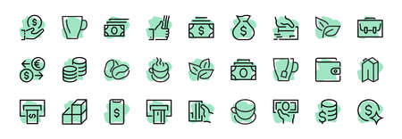 BUSINESS FINANCE Thin Line Icon Set, contains icons such as Coins, Currency Exchange, Card Payment, Terminal and much more, Editable Line, Vector Illustration.