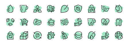 Ecology Icon Set, Vector lines, contains icons such as photosynthesis, Enviroment protection, Eco-friendly package, growth time, Editable stroke, perfect 48x48 pixels, White background. 向量圖像
