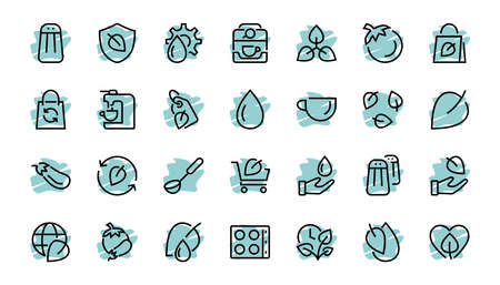 Ecology Icon Set, Vector lines, contains icons such as photosynthesis, Enviroment protection, Eco-friendly package, growth time, Editable stroke, perfect 48x48 pixels, White background