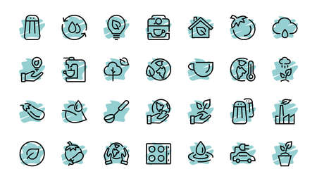 The set of ECOLOGY icons, vector lines, contains such icons as an electric car, global warming, forest, eco, watering plants, a plant and much more. Editable stroke, white background