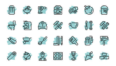 Set of construction icons, simple vector lines, contains the following icons: builder, roller, hammer with wrench, toilet bowl and much more. Editable stroke. 48x48 pixels perfect, white background.
