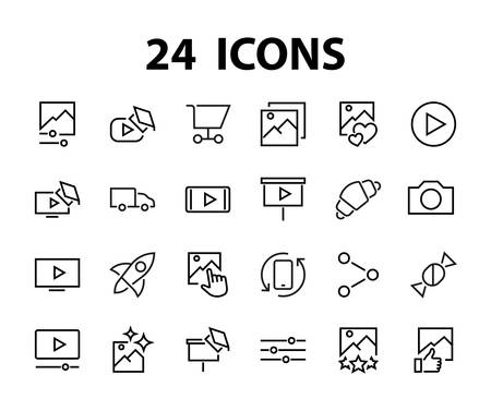 Set of Images Gallery vector line icons. Contains icons such as video, play video, edit images, Business Training, like photo. Editable stroke. Vector illustration.