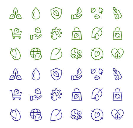 Ecology Icon Set, Vector lines, contains icons such as photosynthesis, Enviroment protection, Eco-friendly package, growth time, Editable stroke, perfect 48x48 pixels, White background. Vektorové ilustrace