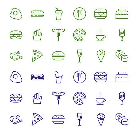 A simple set of fast food icons related to the vector line. Contains icons such as pizza, burger, sushi, bike, scrambled eggs and more. EDITABLE stroke. 480x480 pixels perfect, EPS 10 Vettoriali