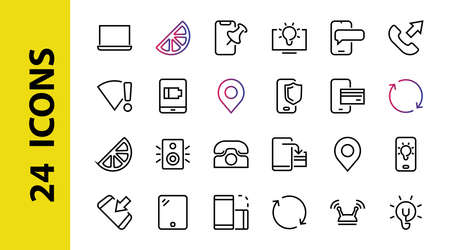 GADGET A set of icons of smart devices, such as a laptop computer, tablet, program protection, phone, digital network, thin line vector, editable stroke