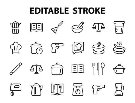 Set of icons for cooking and kitchen, vector lines, contains icons such as a knife, saucepan, boiling time, mixer, scales, recipe book. Editable stroke, perfect 480x480 pixels, white background.