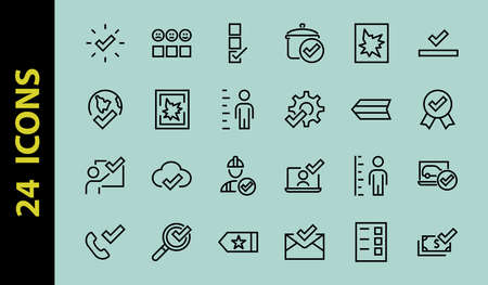 A simple set of claim related vector ICON lines. Contains icons such as file uploaded, received document, read message, receive call and more. Editable Bar. 48x48 Pixel Perfect.