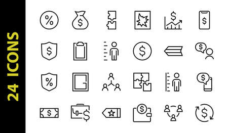 Set of business vector line icons. It contains user symbols, dollar pictograms, gears, briefcase, puzzles, envelope, percentage, messages, schedule, and more. Editable Bar. 460x460 pixels