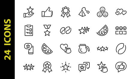 Simple Set Feedback, reviews thin line icons. Evaluation, review, STAR, LIKE and much more, Editable stroke. Vector illustration. Stock Illustratie