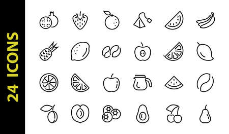 Fruit Icon Set, Vector lines, Contains icons such as apple, banana, cherry, lemon, watermelon, Avocado Editable stroke, 48x48 pixels, White background, eps 10.