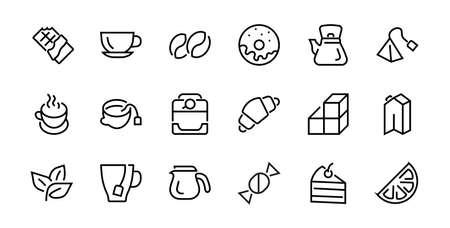 COFFEE and TEA LINEAR ICONS SET, contains Icons of tea, tea bag, Coffee machine, cake, sugar, teapot, cup, milk, cream, Lemon, chocolate bar, Editable stroke.