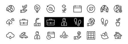 set of ECOLOGY icons, vector lines contains such icons as an electric car, global warming, forest, eco, watering plants, plants and much more. Editable stroke, ecology.