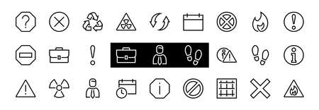 WARNINGS simple set of thin line vector icons. Contains icons such as warning, exclamation mark, reuse, warning sign and more. Editable stroke. Vector illustration.