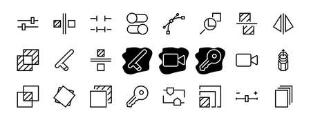 A simple set of image editing related vector line icons. Contains icons such as crop, copy, scale, rotate and more. Editable stroke. 48x48 Pixel Perfect. On white background.