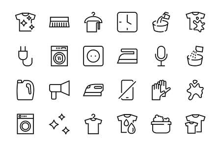 Simple set of washing related vector line Icons. Contains icons such as washing machine, powder, laundry, dirty t-shirt and much more. On a white background, editable stroke. 48x48 pixels perfect.