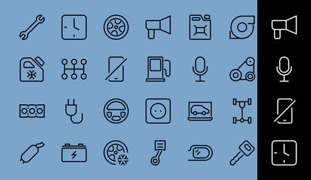 AUTO PARTS Set of Icons related vector line icons. Contains icons such as parts, oil, diagnostics, turbine, steering wheel, key, chassis, gearbox and much more. Editable stroke.