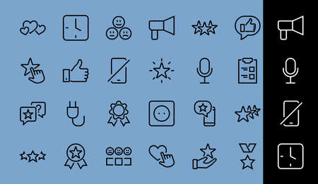 Simple Set Feedback, reviews thin line icons. Evaluation, review, STAR, LIKE and much more, Editable stroke. Vector illustration. Ilustração