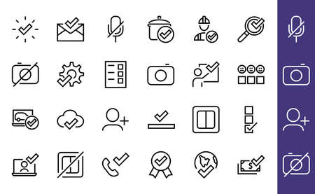 A simple set of claim related vector ICON lines. Contains icons such as file uploaded, received document, read message, receive call and more. Editable Bar. 48x48 Pixel Perfect