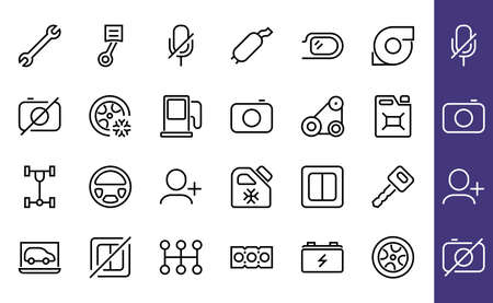 AUTO PARTS Set of Icons related vector line icons. Contains icons such as parts, oil, diagnostics, turbine, steering wheel, key, chassis, gearbox and much more. Editable stroke 向量圖像