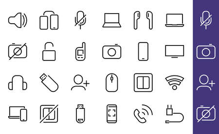 A set of smart devices and gadgets, computer hardware and electronics. Electronic devices icons for web and mobile vector lines. computer, telephone. Editable stroke. 48x48 pixels 版權商用圖片 - 150665609