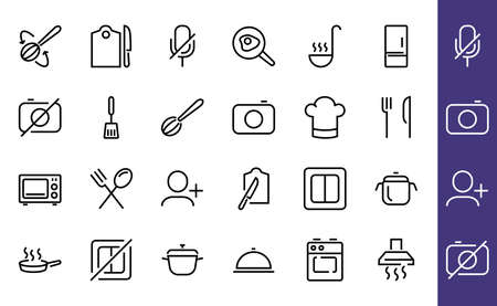 Set of cooking and kitchen icons, Vector lines, contains icons such as frying pan, frying, microwave, fork with spoon, Editable stroke, perfect 480x480 pixels, white background. Illustration