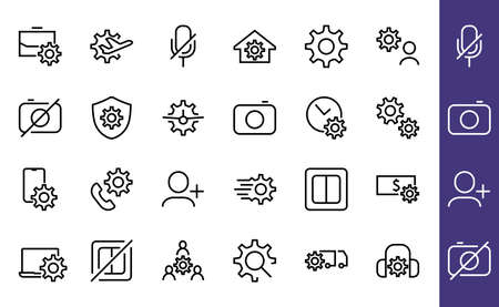 A simple set of settings and options related to Vector Line Icons. Contains icons such as set time, business, phone, and more. Editable Stroke.. 480x480