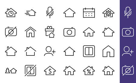 Simple set of line vector home icons. Contains house symbols at interest, infuse house and more. Editable stroke. 480x480 pixels perfect 版權商用圖片 - 150665634