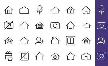 Simple set of color editable house icon templates. Contains such icons, home calendar, coffee shop and other vector signs isolated on a white background for graphic and web design. 版權商用圖片 - 150665635