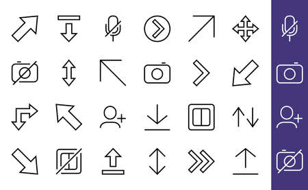 Set of line arrows, directions, arrows, contains icons such as pause, continuation, directly, to the right, Editable stroke. 480x480, On a white background, Vector illustration 版權商用圖片 - 150665637