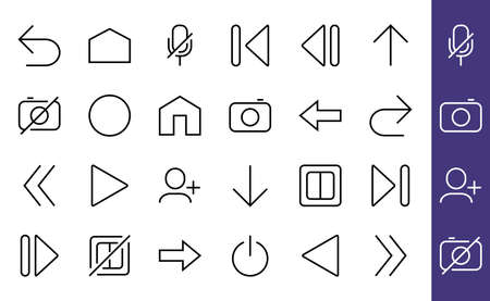 Set of line arrows, directions, arrows, contains icons such as pause, continuation, directly, to the right, Editable stroke. 480x480, On a white background, Vector illustration 版權商用圖片 - 150665638