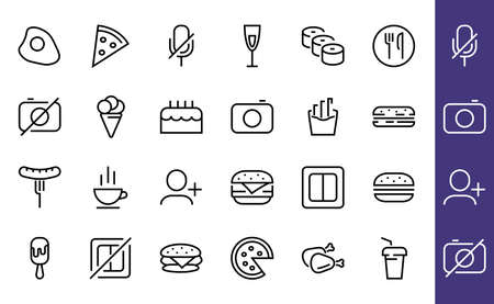 A simple set of fast food icons related to the vector line. Contains icons such as pizza, burger, sushi, bike, scrambled eggs and more. EDITABLE stroke. 480x480 pixels perfect, EPS 10