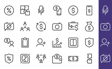 Set of business vector line icons. It contains user symbols, dollar pictograms, gears, briefcase, puzzles, envelope, percentage, messages, schedule, and more. Editable Bar 480x480 pixels.