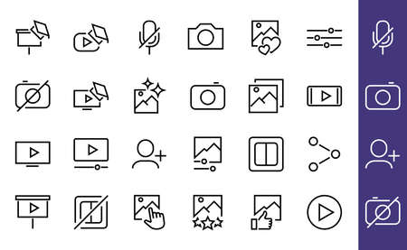 Set of Images Gallery vector line icons. Contains icons such as video, play video, edit images, Business Training, like photo. Editable stroke. Vector illustration