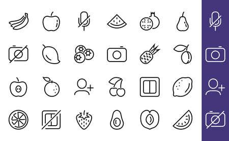 Fruit Icon Set, Vector lines, Contains icons such as apple, banana, cherry, lemon, watermelon, Avocado Editable stroke, 48x48 pixels, White background, eps 10 版權商用圖片 - 150665640