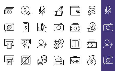 BUSINESS and FINANCE Thin Line Icon Set, contains icons such as Coins, Currency Exchange, Card Payment, Terminal and much more, Editable Line, Vector Illustration.