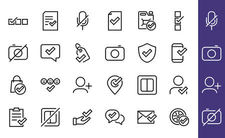 A simple set of claim related vector line icons. Contains icons such as security guarantee, received document, read message, verification, quality and much more. Editable Bar. 480x480 版權商用圖片 - 150654681