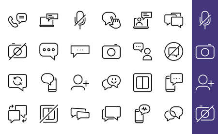 Simple set of message line vector line icons. contains icons such as conversation, SMS, notifications, group chat, and more. Editable stroke. 48x48 pixels perfect, white background.