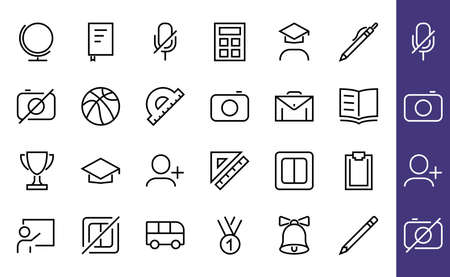 A simple set of school items. Contains icons such as student, award, geography, physical education, geometry and more. On white background. Editable stroke. 480x480.