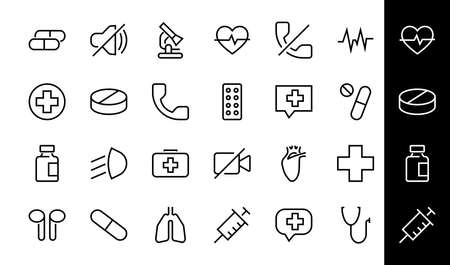 A simple set of medicine ICONS, contains medicine icons, pills, related vector line icons. thin lines, pain, syringe, lungs, microscope, cardiogram, virus and much more. Editable stroke 向量圖像