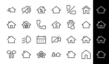 Simple set of line vector home icons. Contains house symbols at interest, infuse house and more. Editable stroke. 480x480 pixels perfect. 版權商用圖片 - 150922708