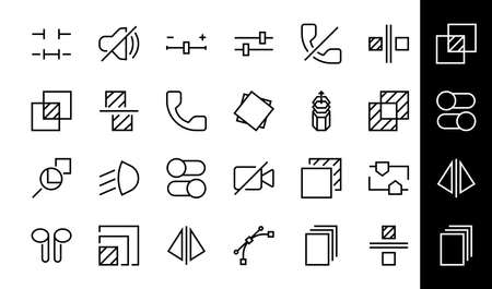 A simple set of image editing related vector line icons. Contains icons such as crop, copy, scale, rotate and more. Editable stroke. 48x48 Pixel Perfect. On white background. 版權商用圖片 - 150879042