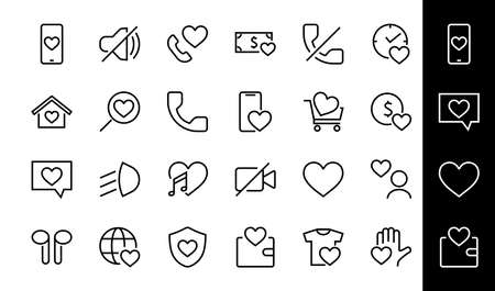 The set of icons about love contains such icons as love of music, declaration of love, heart, favorite home, Linear set. Vector on a white background. Editable stroke. 480x480.