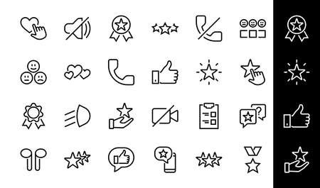 Simple Set Feedback, reviews thin line icons. Evaluation, review, STAR, LIKE and much more, Editable stroke. Vector illustration. 向量圖像