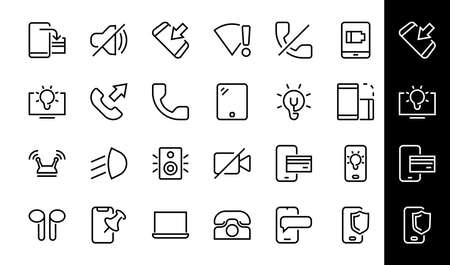GADGET Set of vector icons of smart devices such as laptop, tablet, protection program, phone, digital network, thin line vector gadget icons, editable stroke. 版權商用圖片 - 150922737